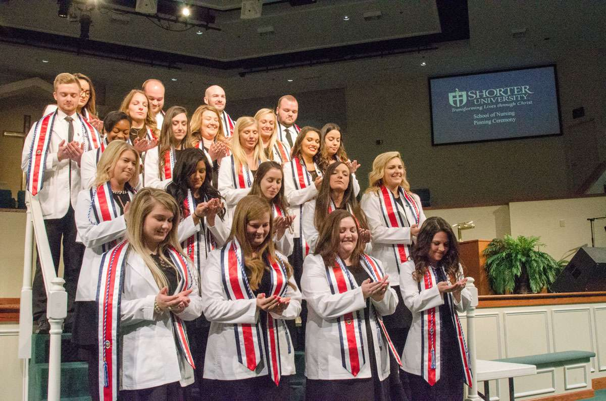 The Blessing of the Hands during Shorter's Nursing Pinning Ceremony