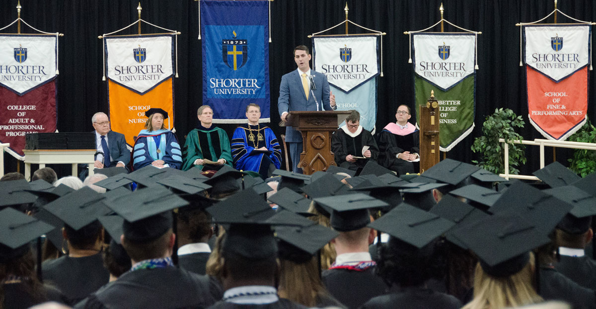 Rep. Trey Kelley was the featured speaker at Shorter's 2019 Commencement.