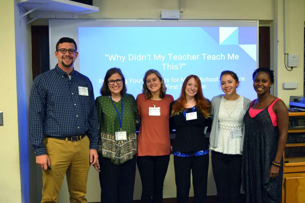 "Shorter University MTNA student chapter members presented ""Why Didn't My Teacher Teach Me This?"" at the recent GMTA statewide conference. Presenters were, from left, Chandler Dedman, Becky Fowler, Grace Garnett, Samantha Deen, Haley Gravitte, and Vashti Baluch."