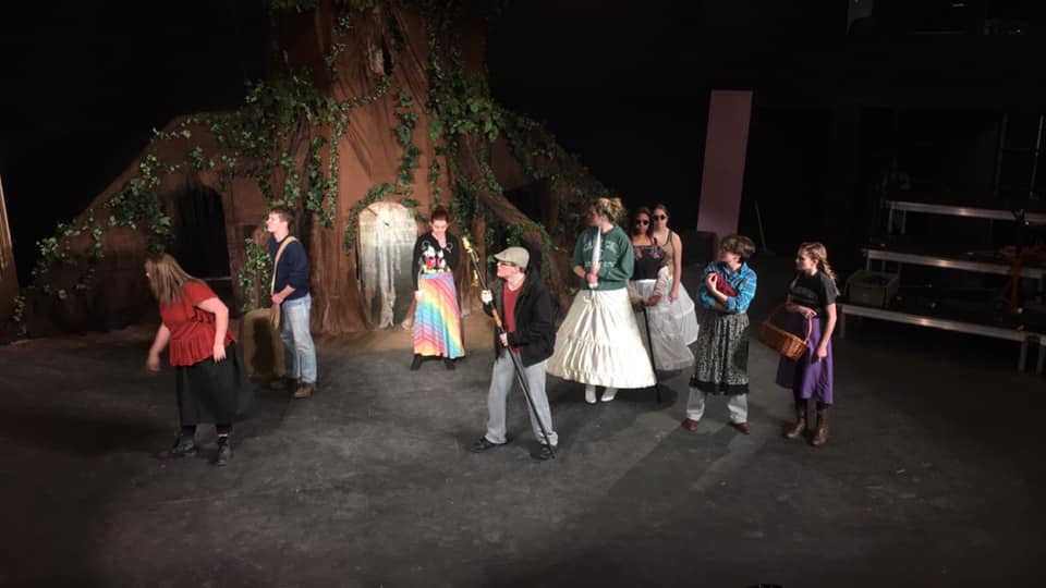 Cast members rehearse a scene from Shorter University Theatre's upcoming production of 'Into the Woods.'
