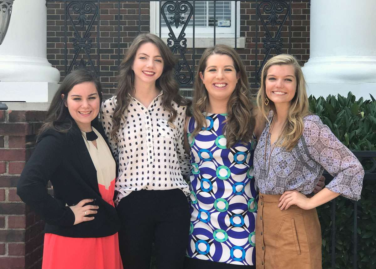 Alpha Chi officers for 2017-18 are, from left, Hannah Lambert, Hannah Cauthen, Mary Jayne Caum, and Kayla Killingsworth.