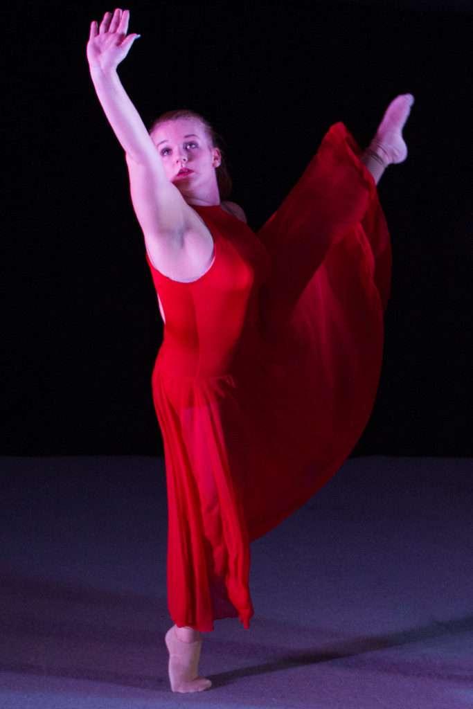 Dancer in red dress.