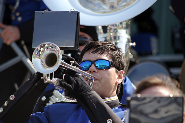 Horn player in Shorter Marching Hawks Band