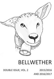 Drawing of sheep with bell around neck.