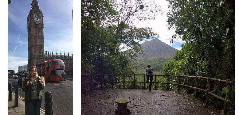 Students at Big Ben and a volcano