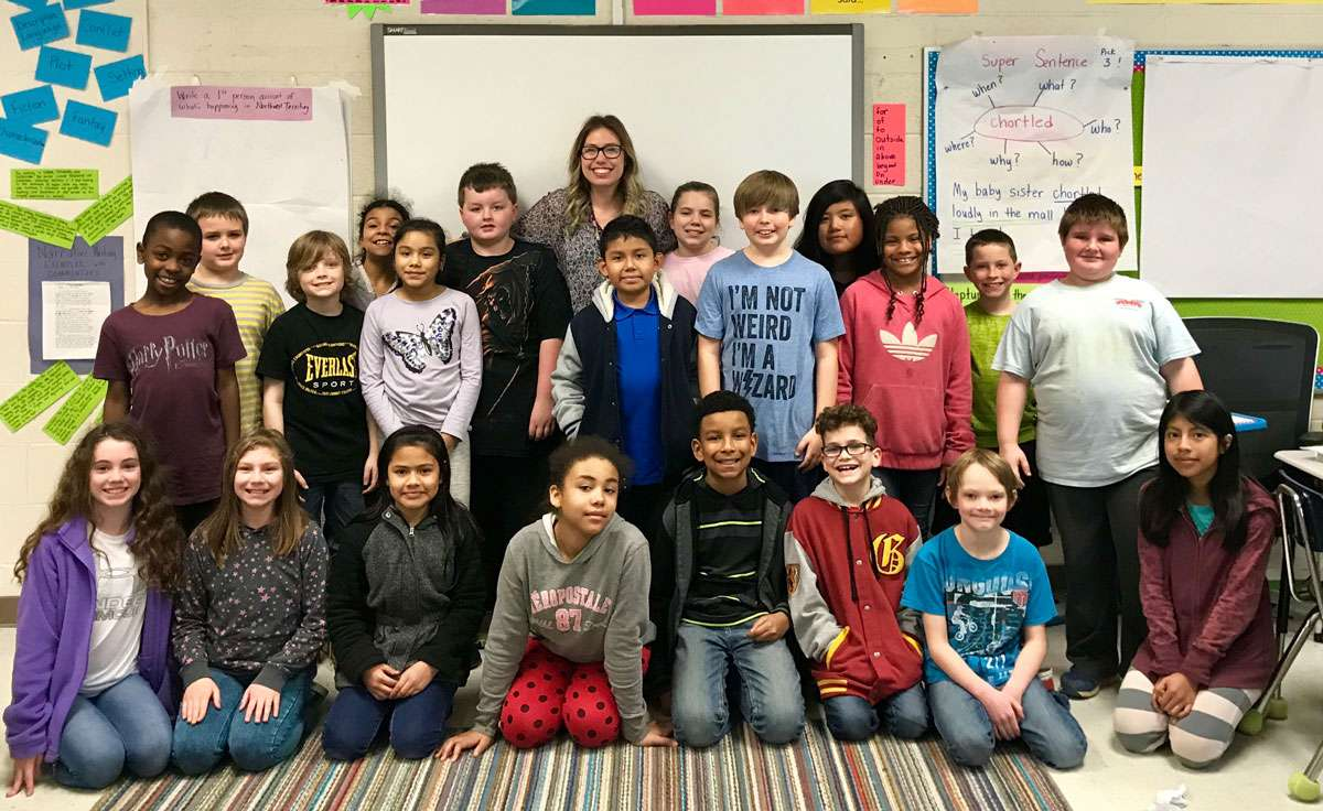 Casei Burkhalter with 4th graders at Alto Park Elementary