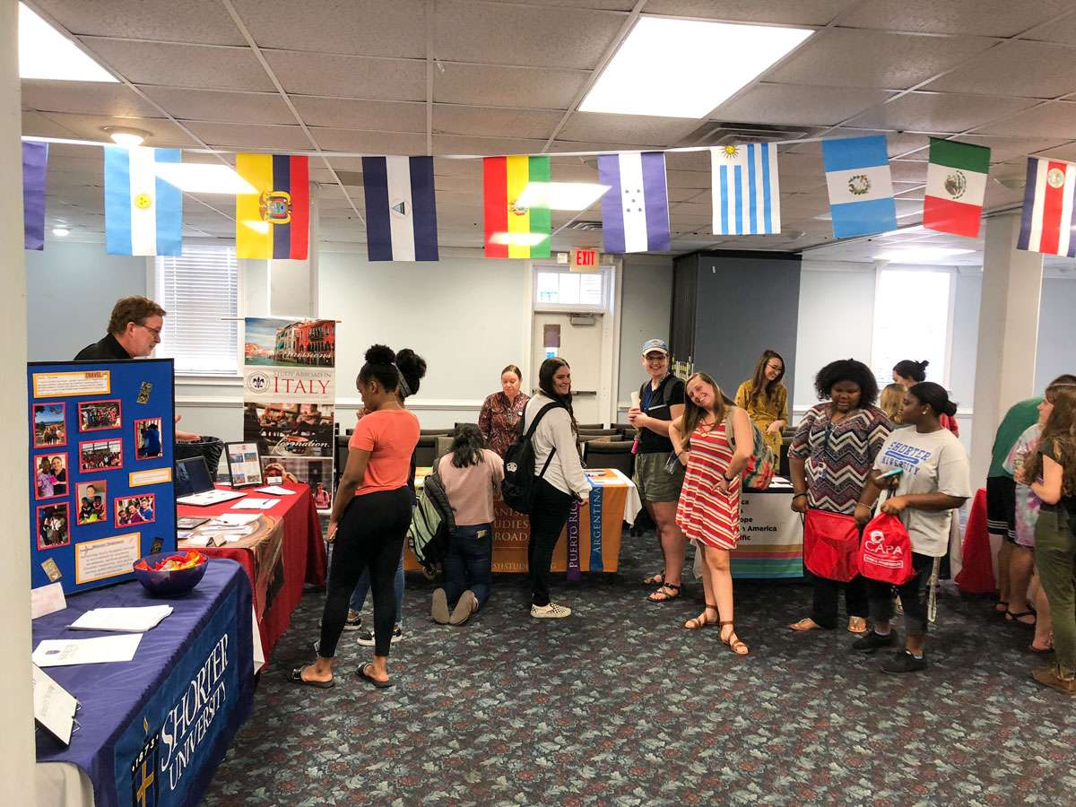 Students visit Shorter's Study Abroad Fair