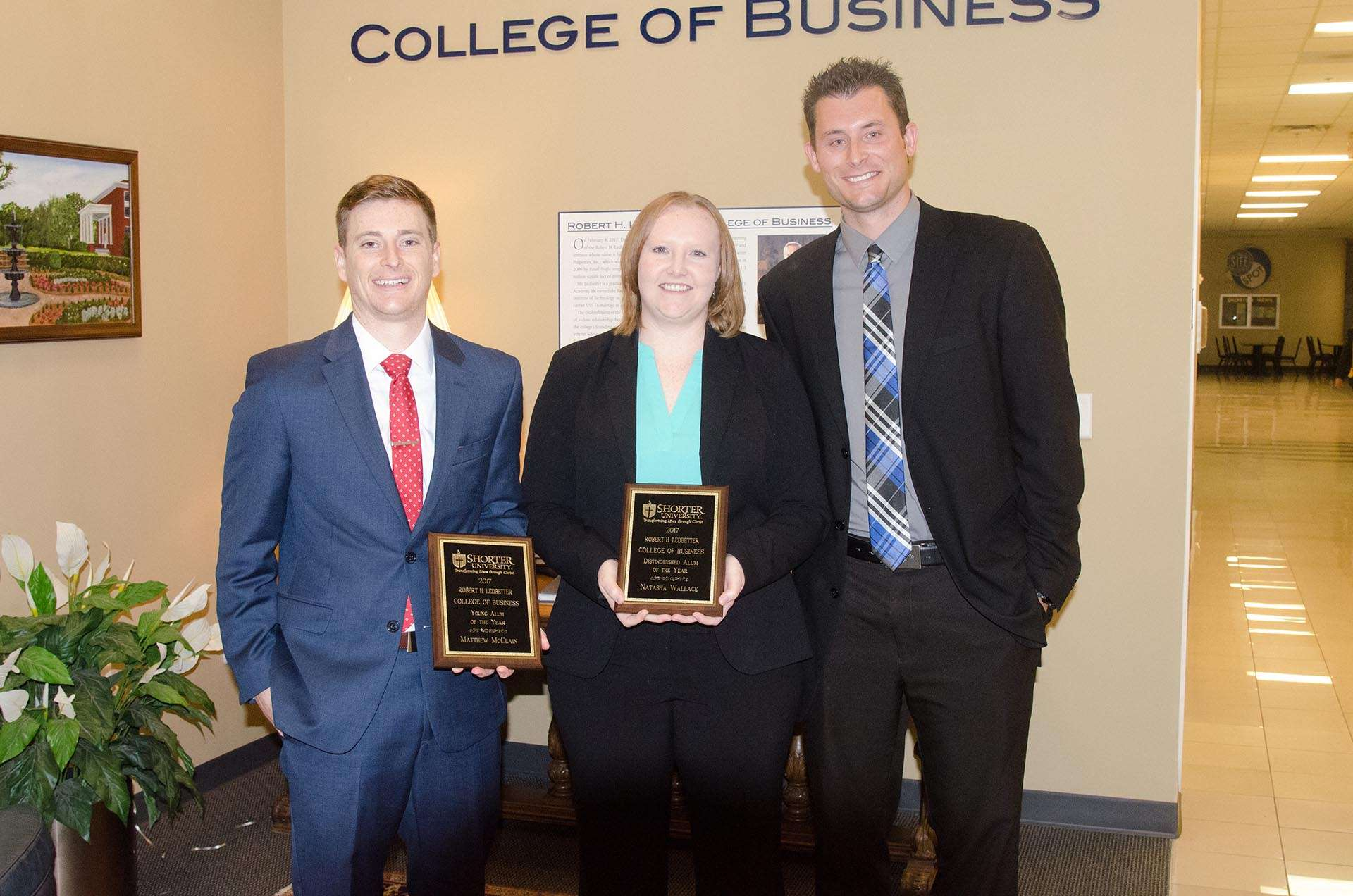 Natasha Wallace, a 2009 graduate, received the Distinguished Alumna of the Year Award, and Matt McClain, a 2011 graduate, received the Young Alumnus of the Year Award. The awards were presented by Dr. Heath Hooper, Dean of the Ledbetter College of Business.