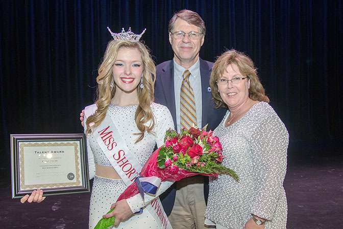 Miss Shorter University 2017 Emily Tyler with Shorter University President Dr. Don Dowless and Mrs. Teresa Dowless.