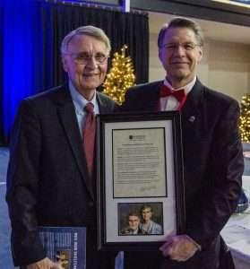 Rev. Bob Skelton, left, and Shorter University President Dr. Don Dowless