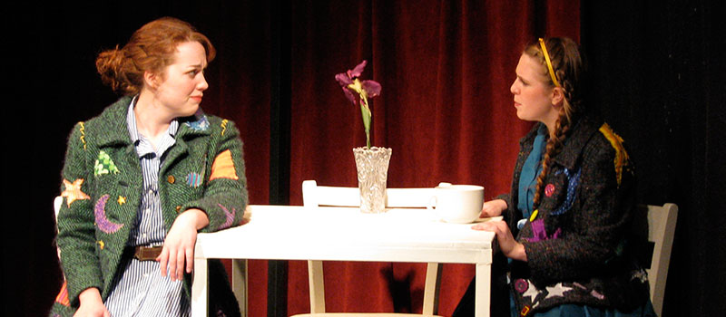 Scene from Still Life with Iris / two girls sitting at a table talking