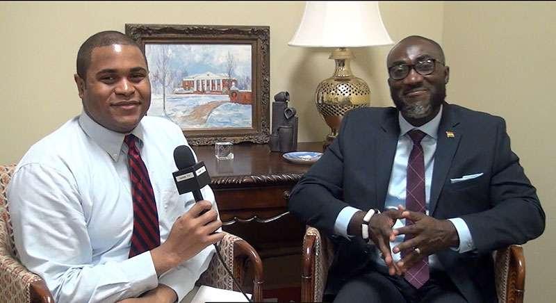 Public Relations intern Caleb Britt interviews Dr. Yaw Adoo.
